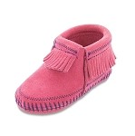 Minnetonka Moccasins 1160 - Infants Riley Bootie - Hot Pink Suede