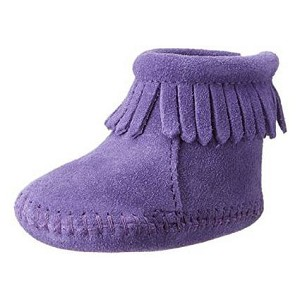 Minnetonka Moccasins 1184S - Infants Purple Suede Back Flap Bootie