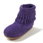 Minnetonka Moccasins 1294S - Infants Purple Suede Double Fringe Bootie