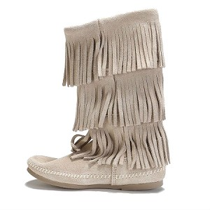 1638T Minnetonka Moccasins Women's Stone Suede Three Layer Fringe Calf Hi Boot