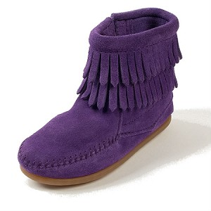 Minnetonka Moccasins 2294S - Childrens Purple Suede Double Fringe Ankle Boot