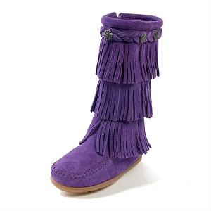 Minnetonka Moccasins 2654S - Children's Purple Suede 3 Layer Fringe Boot