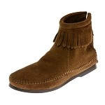 0283 Minnetonka Moccasins Women's Dusty Brown Suede Back Zipper Hardsole Ankle Boot