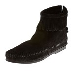 0289 Minnetonka Moccasins Women's Black Suede Back Zipper Hardsole Ankle Boot