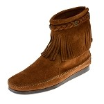 0292 Minnetonka Moccasins Women's Brown Suede Hi Top Back Zipper Boot