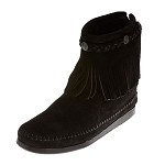 0299 Minnetonka Moccasins Women's Black Suede Hi Top Back Zip Boot
