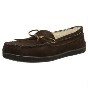 3908 Minnetonka Moccasins Men's Chocolate Suede Pile Lined Hardsole Moccasin