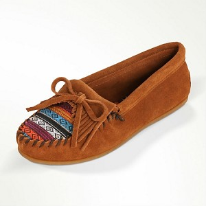 0402K Minnetonka Moccasins Women's Brown Suede with Arizona Fabric Kilty Hardsole Moccasin