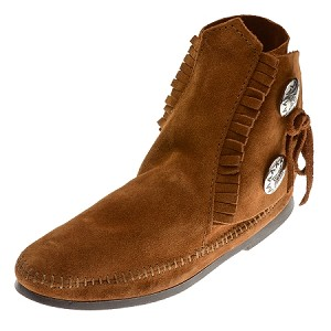 0442 Minnetonka Moccasins Women's Brown Suede Two Button Hardsole Ankle Boot